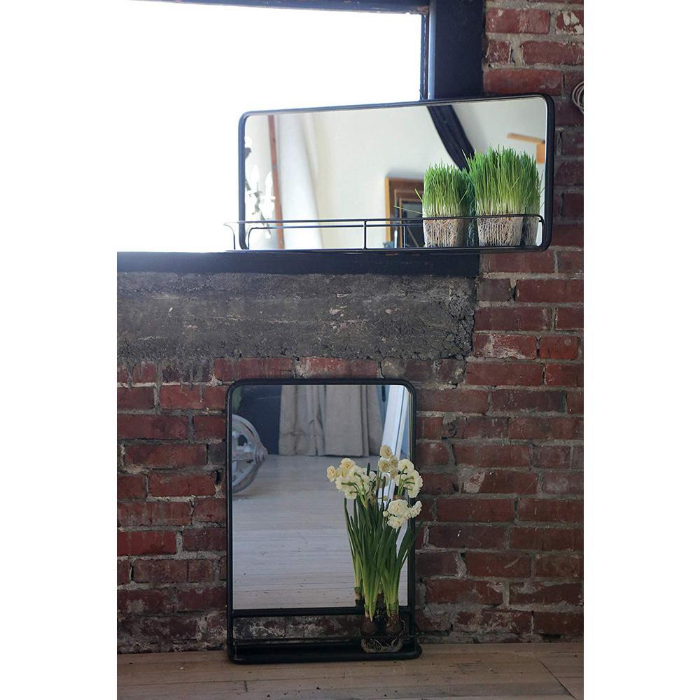 Metal Framed Rectangle Black Floor Mirror with Shelf