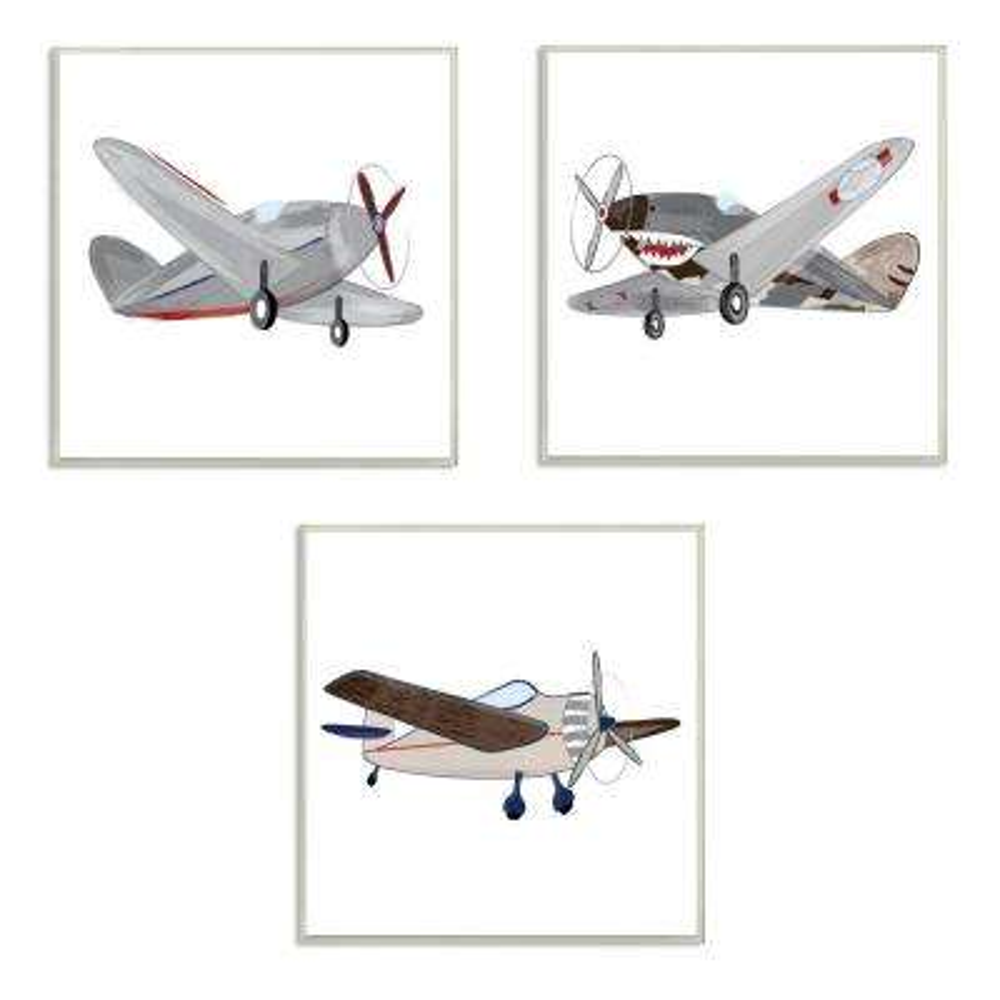 """12 in. x 12 in. """"Triple Airplanes Drawing"""" by Sweet Pea Studio Printed Wood Wall Art"""