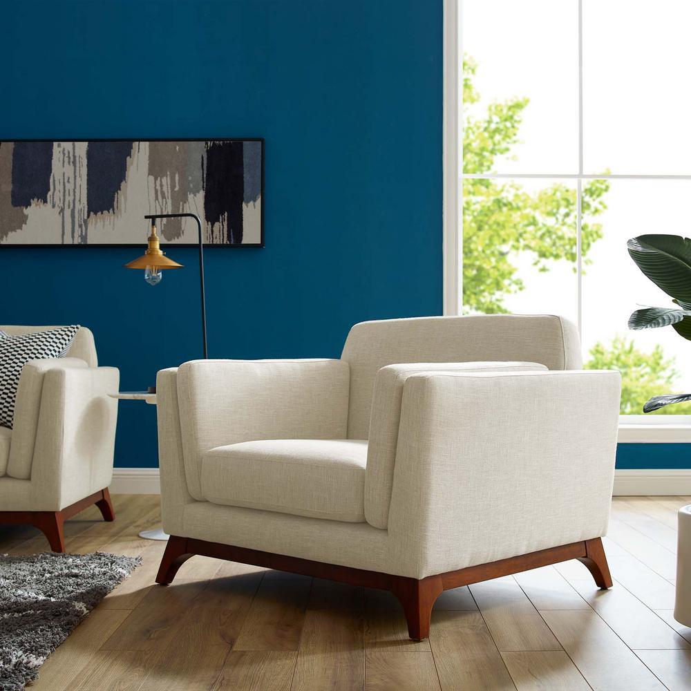 MODWAY Chance Beige Upholstered Fabric Armchair EEI-3063-BEI
