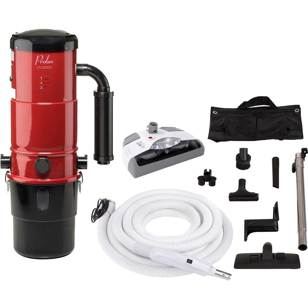 Prolux CV12000 Red Central Vacuum Power Unit with Electric Hose and Power Nozzle Kit