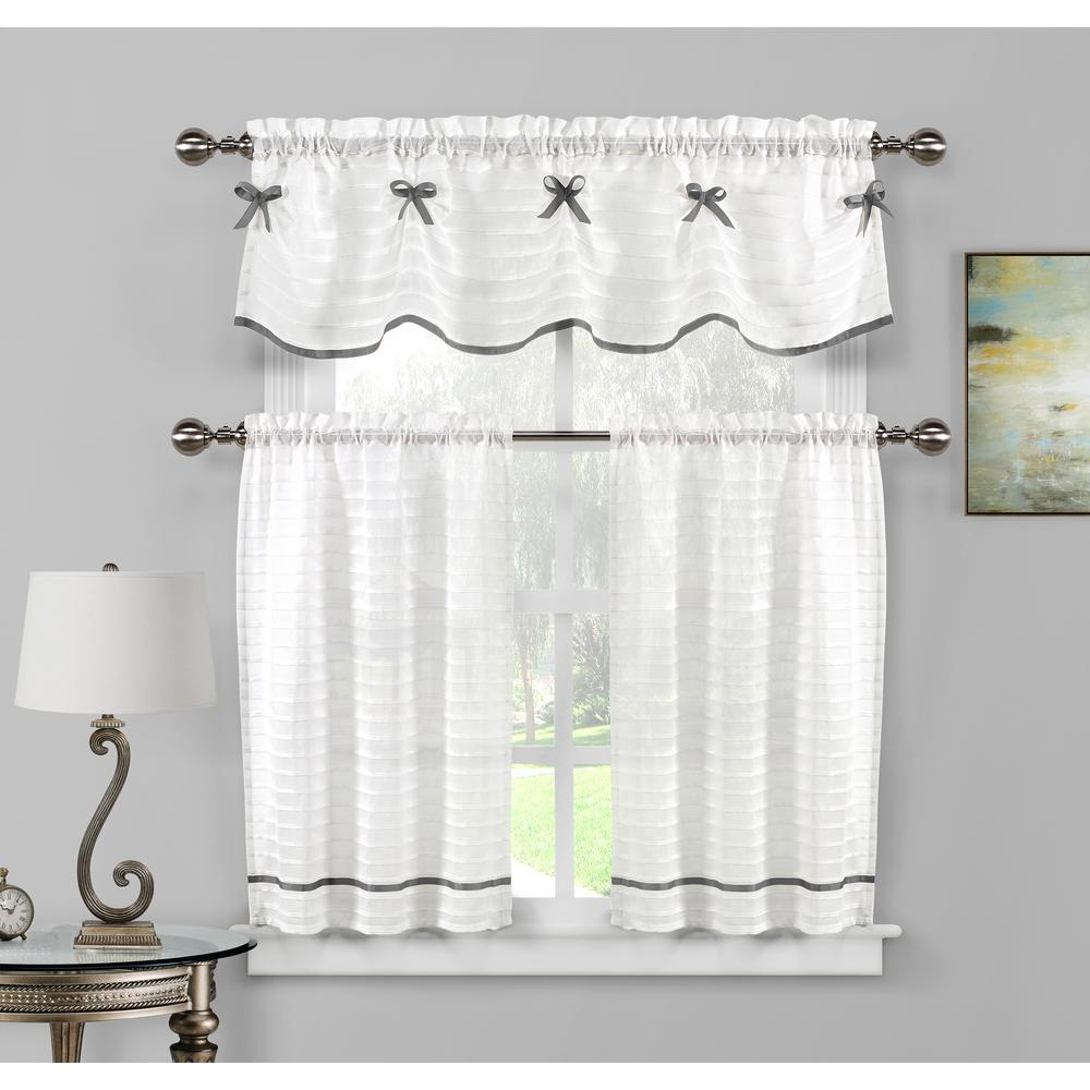 Duck River Carlee Kitchen Valance In White Silver 15 In W X 58 In L 3 Piece