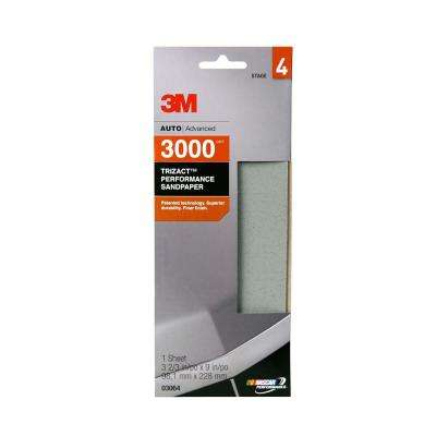 3M Trizact Performance 3-2/3 in. x 9 in. 3000 Grit Sandpaper (Case of 18)