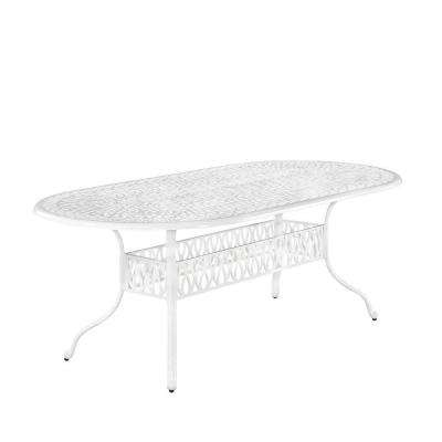 Floral Blossom White All Weather Oval Patio Dining Table