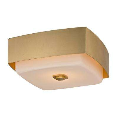 Square flushmount lights lighting the home depot allure 2 light gold leaf square flushmount with opal white glass shade aloadofball Images