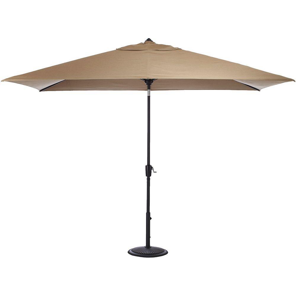 6.5 ft. Aluminum Auto Tilt Patio Umbrella in Sunbrella Heather Beige
