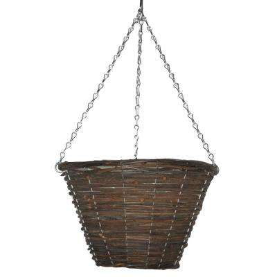 12 in. Black Rattan Bucket Planter with Chain
