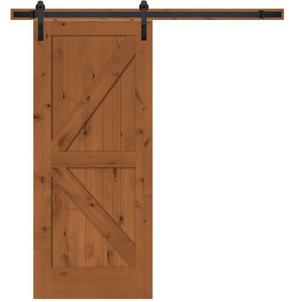 Rustic 2-Panel Stained Knotty Alder Interior Barn Door Slab with Sliding Door Hardware