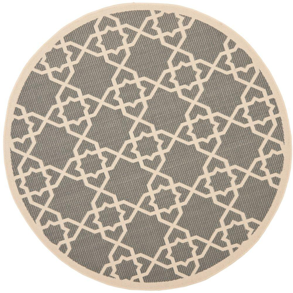 Safavieh Courtyard Gray Beige 5 Ft X Indoor Outdoor Round