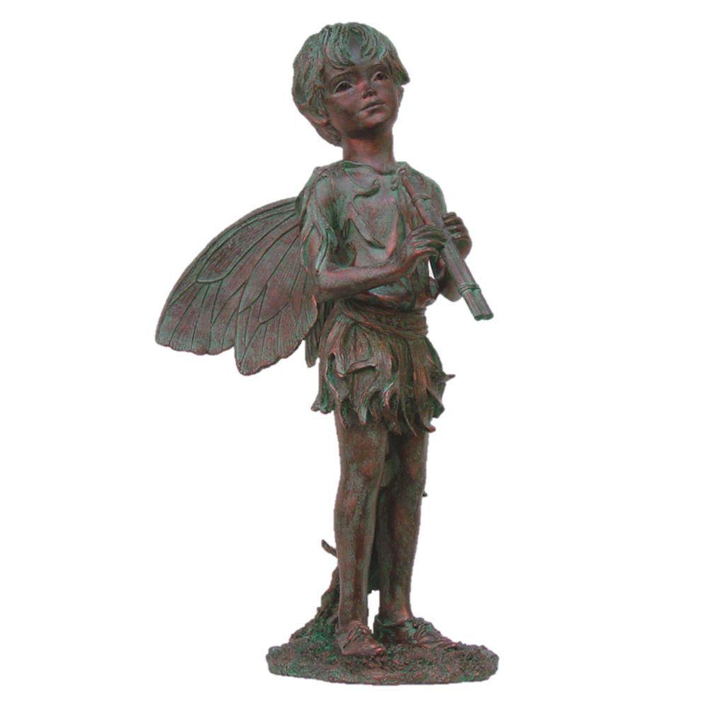 24 in. Fairy Peter Bronze Patina Collectible Garden Statue