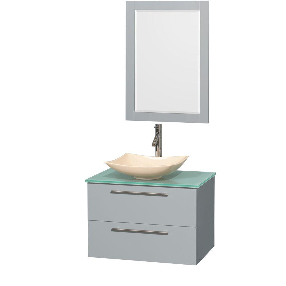 Wyndham Collection Amare 30 in. W x 20.5 in. D Vanity in Dove Gray with Glass Vanity Top in Green with Ivory Basin and 24 in. Mirror
