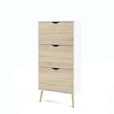 Diana 54.65 in. H x 27.64 in. W 21-Pair 3-Drawer White Oak Structure Engineered Wood Shoe Storage Cabinet