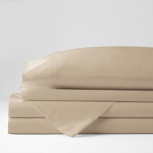 Classic 4-Piece Flax Solid 210-Thread Count Cotton Percale Full Sheet Set
