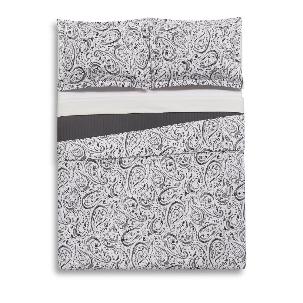 Watercolor Paisley Grey King Quilt Set
