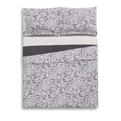 Watercolor Paisley Grey Twin Extra Long Quilt Set
