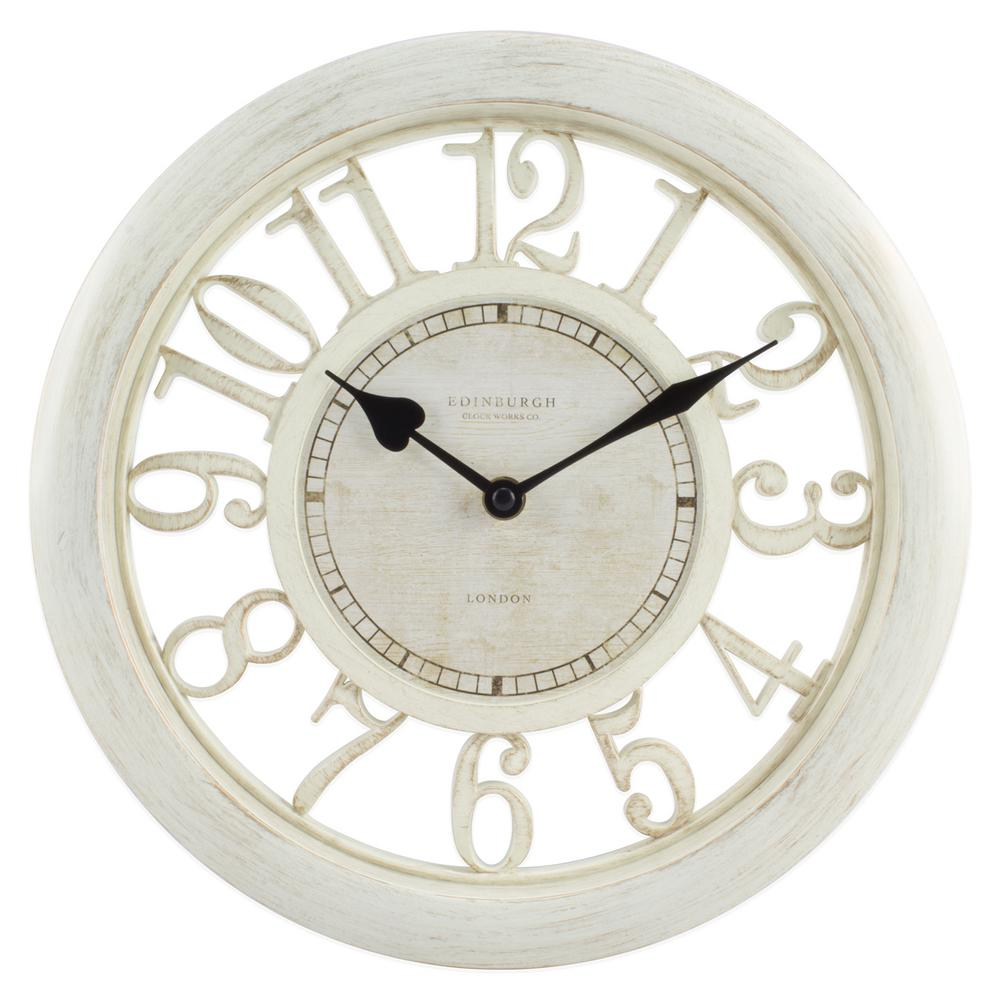 11-1/2 in. White Floating Dial Analog Wall Clock