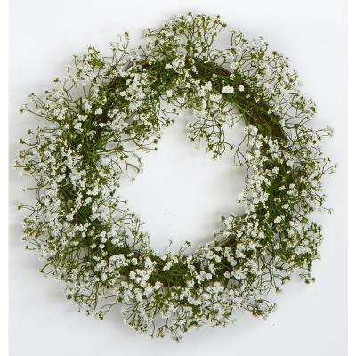20 in. Gypsophila Wreath on Natural Twig Base