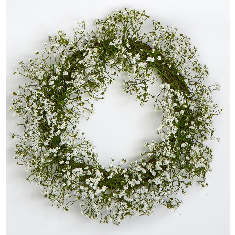 Gypsophila Wreath On Natural Twig Base
