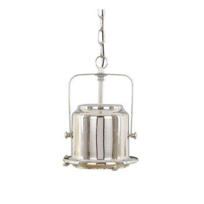 1-Light Modern Industrial Satin Nickel Mini Pendant with Metal Shade