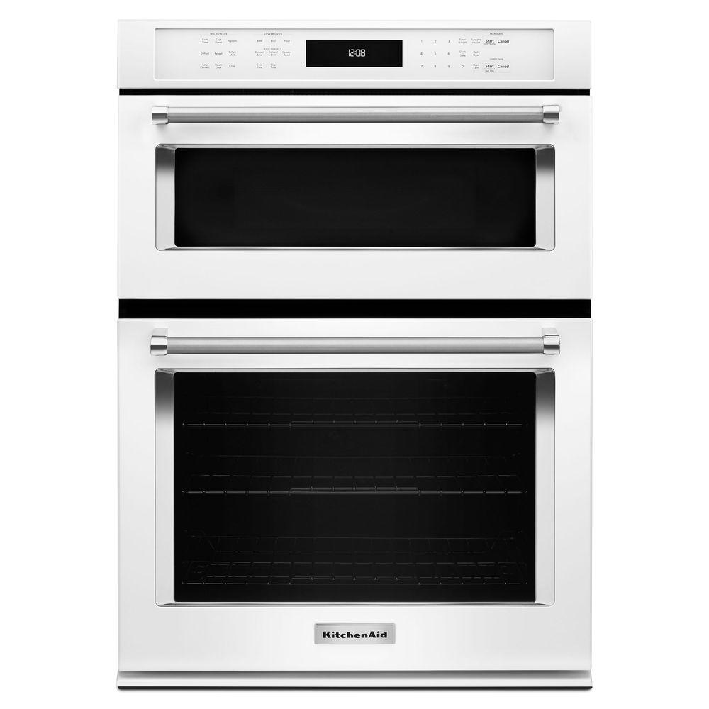 Kitchenaid 30 in electric even heat true convection wall oven with built in microwave in white - Kitchenaid microwave ...