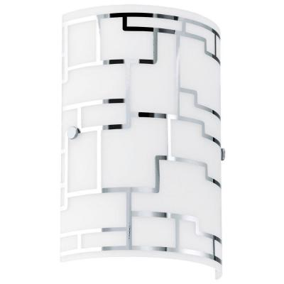 Bayman 7 in. W x 10 in H 1-Light Chrome Sconce with Frosted White Glass with Chrome Accents