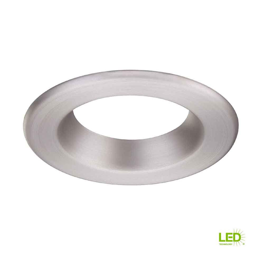 Commercial Electric 4 In Brushed Nickel Recessed Led Trim Ring