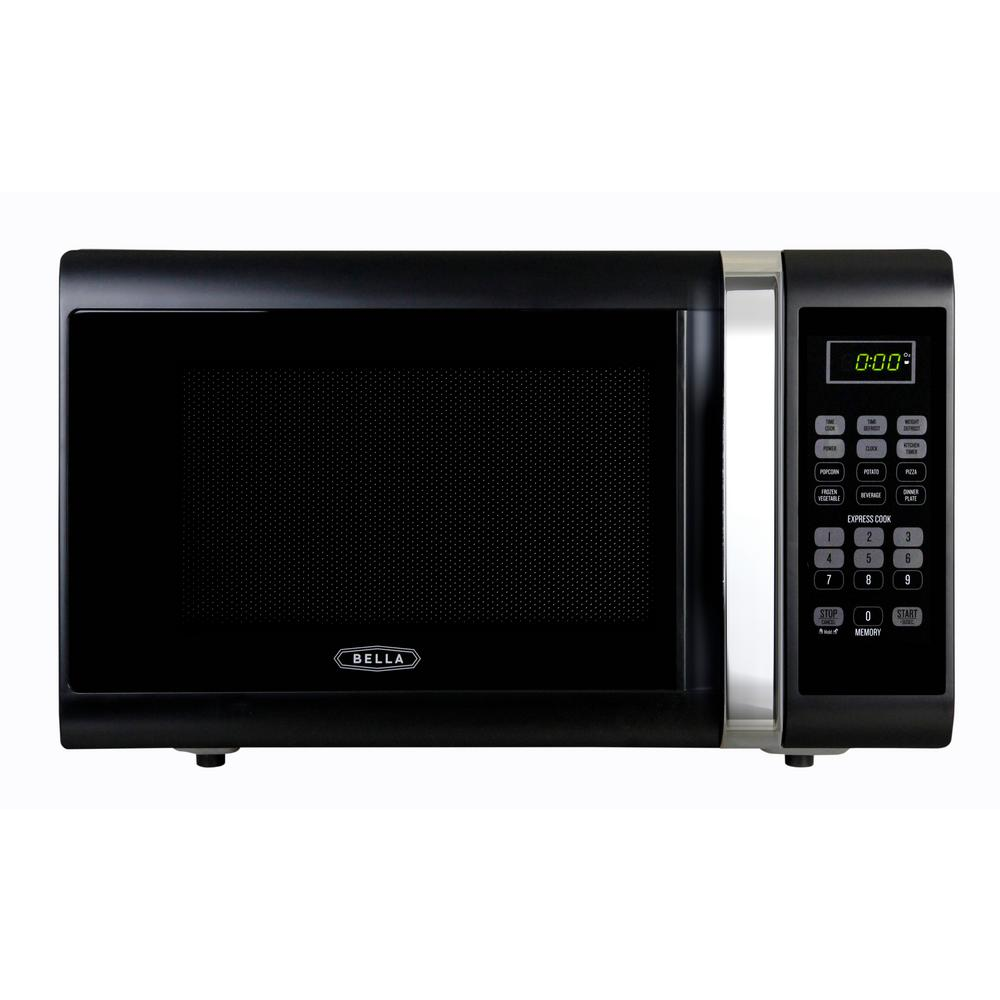 Bella 1.1 Cu. Ft.1000 Watt Countertop Microwave Oven In Black With Chrome