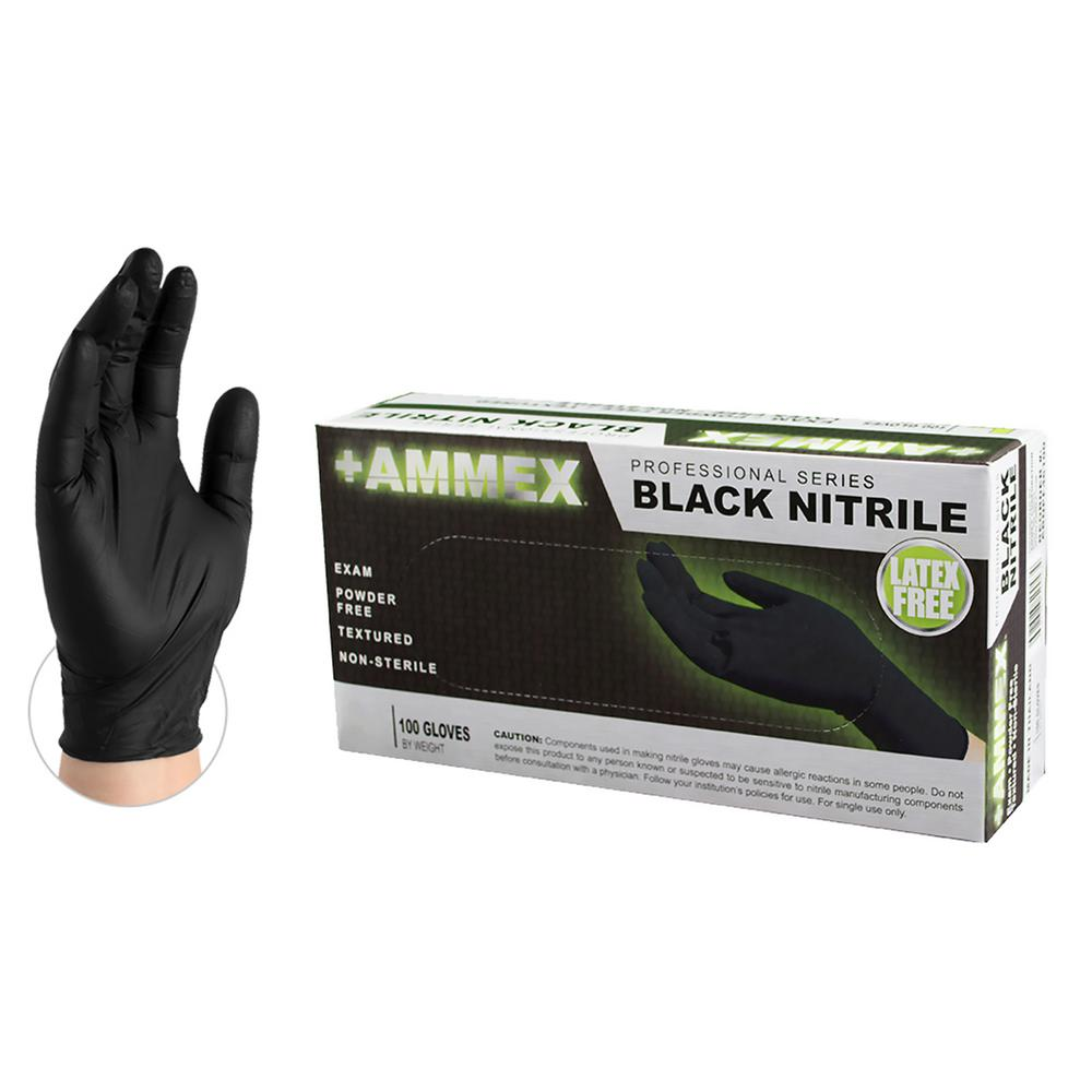 AMMEX AMMEX Black Nitrile Exam Powder-Free 4 Mil Disposable Gloves (100-Count) - Large, Adult Unisex