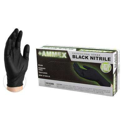 Black Nitrile Exam Powder-Free Disposable Gloves (100-Count) - Large