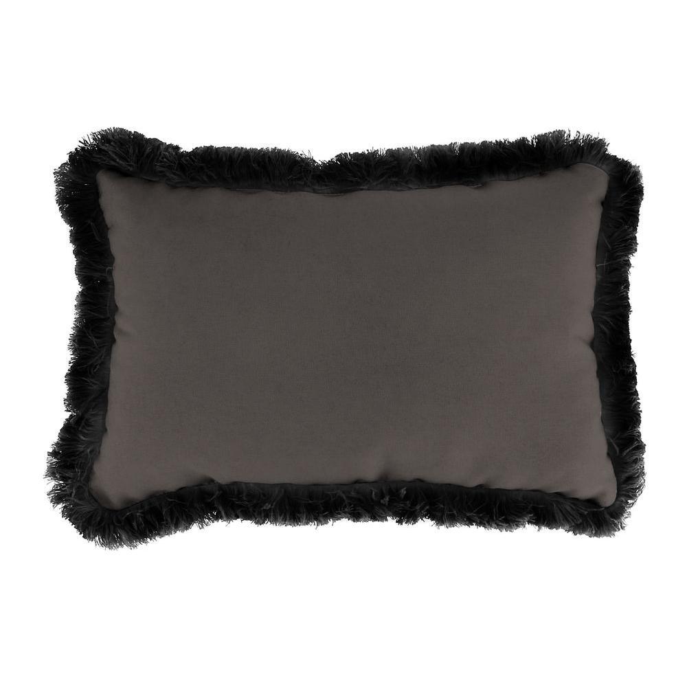 Sunbrella 9 in. x 22 in. Canvas Coal Lumbar Outdoor Pillow with Black Fringe