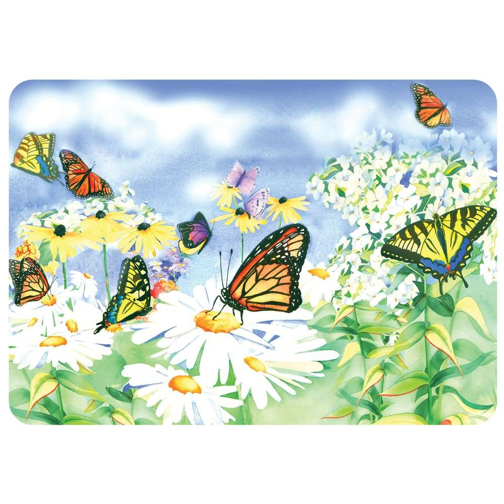 Bungalow Flooring Daisies and Butterflies 22 in. x 31 in. Polyester Surface Mat