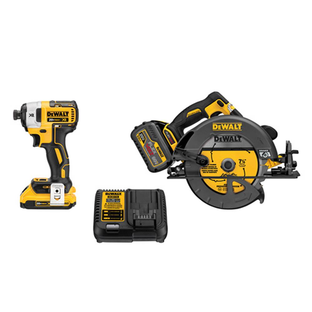 DEWALT FLEXVOLT 60-Volt MAX Lithium-Ion Cordless Brushless Combo Kit  (2-Tool) w/ (1) FLEXVOLT 6 0Ah Battery & (1) 2 0Ah Battery