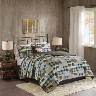 Twin Falls 4-Piece Brown/Blue Full/Queen Oversized Quilt Set