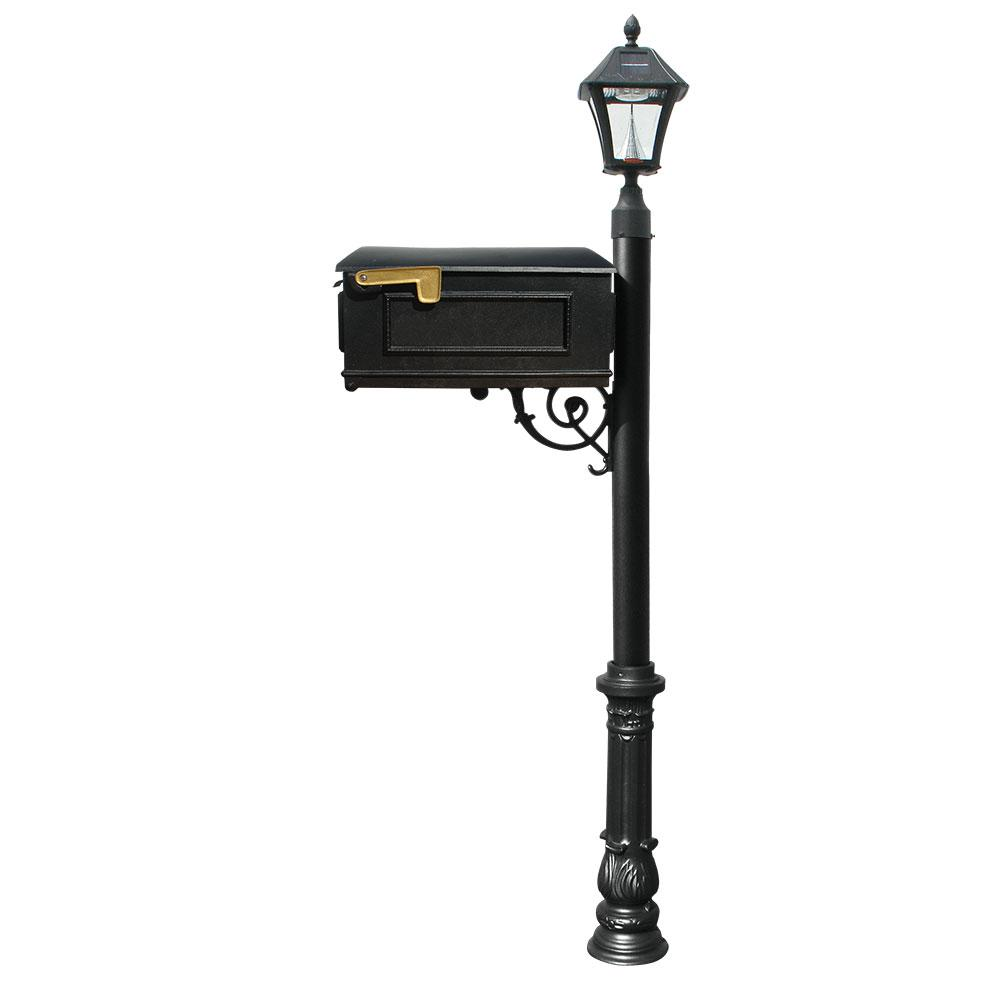 Lewiston Mailbox Collection with Bayview Solar Lamp and Decorative Ornate Base