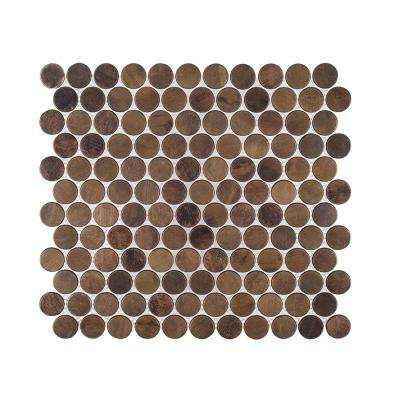 Copper Pennies 10 in. x 10.75 in. x 8 mm Penny Round Brushed Metal Mosaic Tile