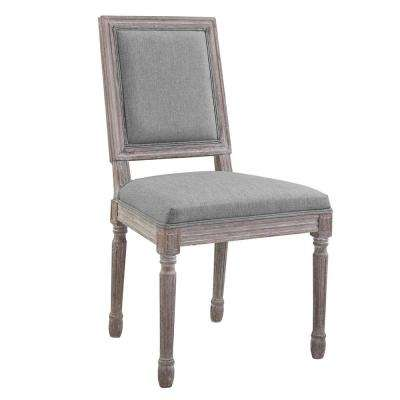 Court Vintage Light Gray French Upholstered Fabric Dining Side Chair