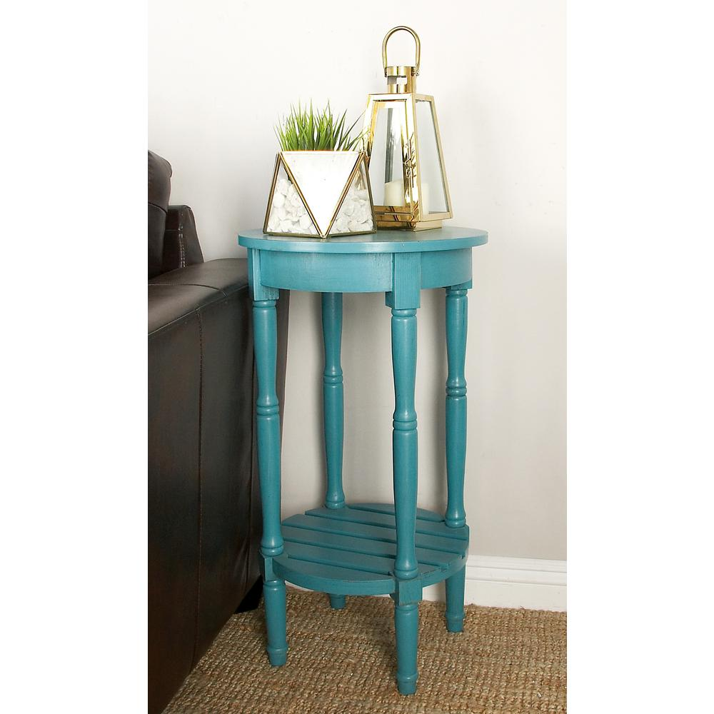 Distressed Teal Round Wooden Side Table-96223 - The Home Depot