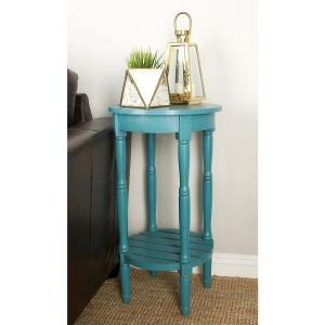 Litton Lane Distressed Teal Round Wooden Side Table 96223   The Home Depot