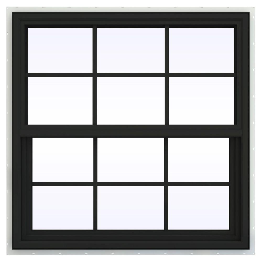 JELD-WEN 35.5 in. x 35.5 in. V-4500 Series Single Hung Vinyl Window with Grids - Bronze