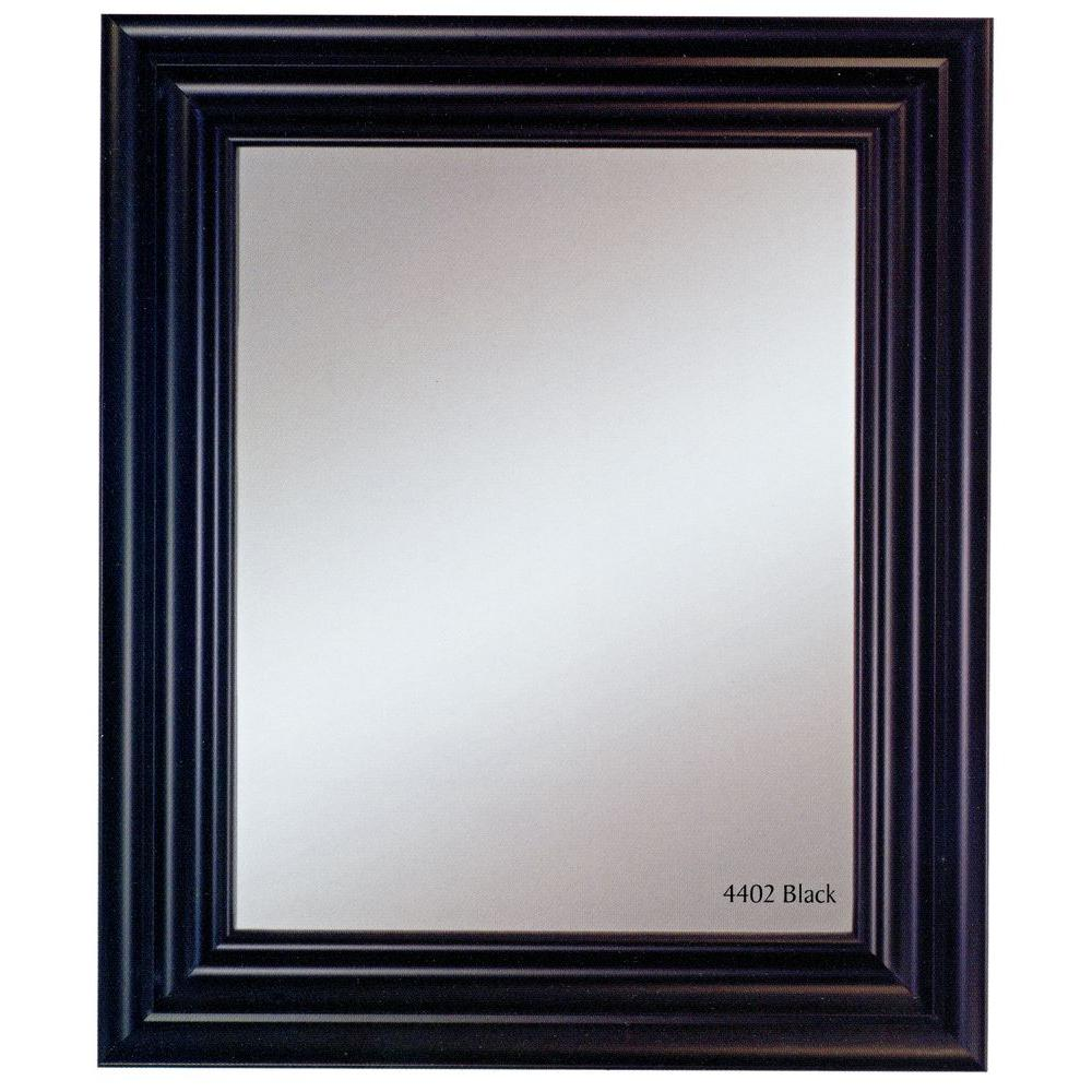 null Carraige House 31 in. x 37 in. Black Framed Wall Mirror