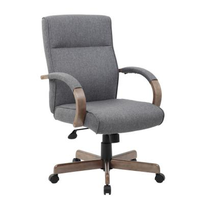 High Back Desk Chair. Slate Grey. Driftwood wood finish Padded Arms. Pnuematic Lift.