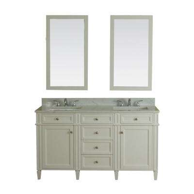 Samantha 60 in. W x 22 in. D Vanity in White with Marble Vanity Top in White with White Basin and Mirror