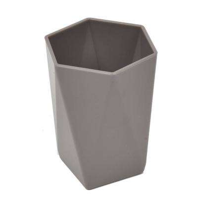Bath Tumbler Cup in Hexagonal Solid Color Taupe