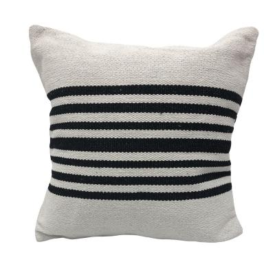Bold Black Striped Soft Poly-Fill 22 in. x 22 in. Throw Pillow