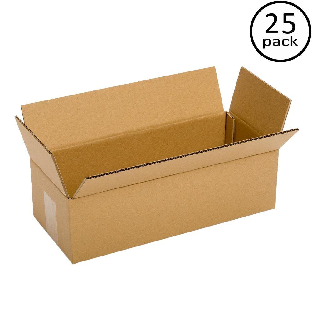 Plain Brown Box 12 in. x 4 in. x 4 in. 25 Moving Box Bundle