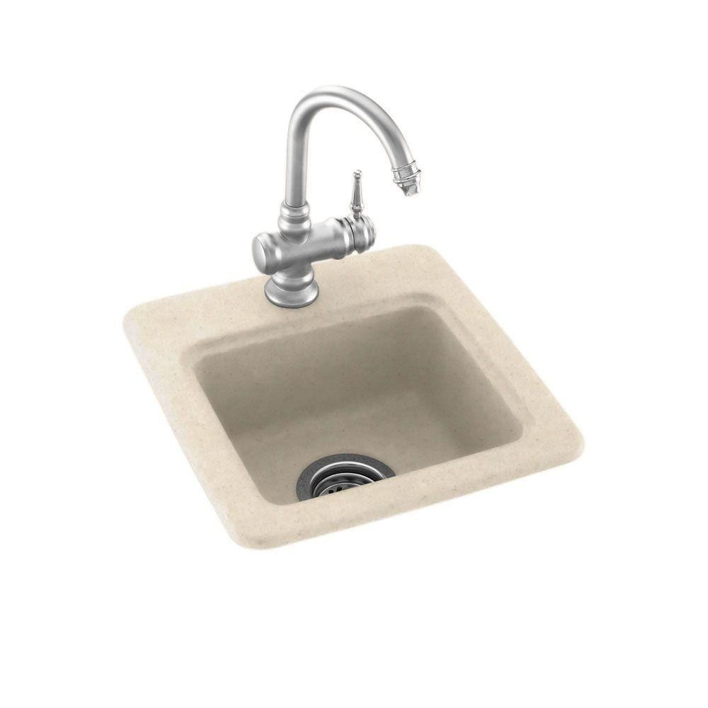 Swan Drop-In/Undermount Solid Surface 15 in. 1-Hole Single Bowl Bar Sink in Tahiti Sand