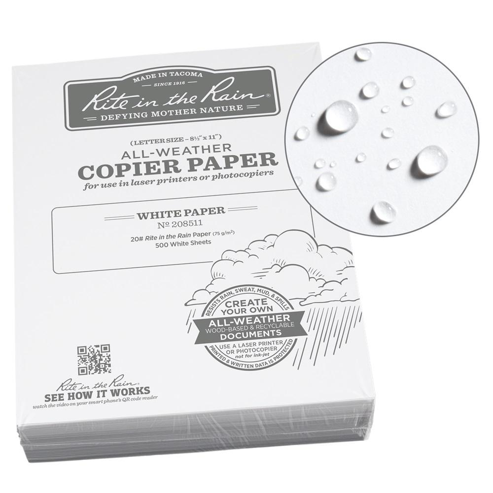 Rite in the Rain All-Weather 8-1/2 in. x 11 in. 20 lbs. Bulk Copier Paper, White (500-Sheet Pack)