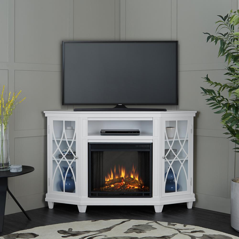 The Lynette Electric Fireplace combines contemporary styling and functional storage in a space saving corner design. Adjustable shelves display your favorite items behind the elegant glass and mullion