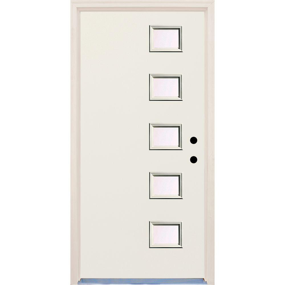Builders Choice 36 in. x 80 in. Left-Hand Raw 5 Lite Clear Glass Unfinished Fiberglass Prehung Front Door with Brickmould