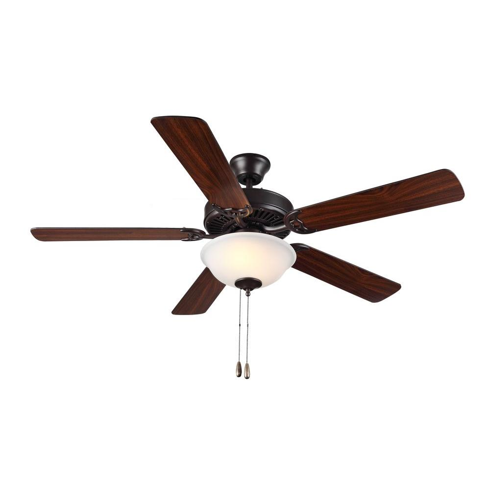 Monte Carlo Homebuilder Ii 52 In Bronze Ceiling Fan With American Walnut Blades