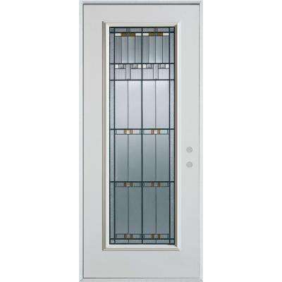 33.375 in. x 82.375 in. Left-Hand Architectural Full Lite Decorative Painted White Steel Prehung Front Door